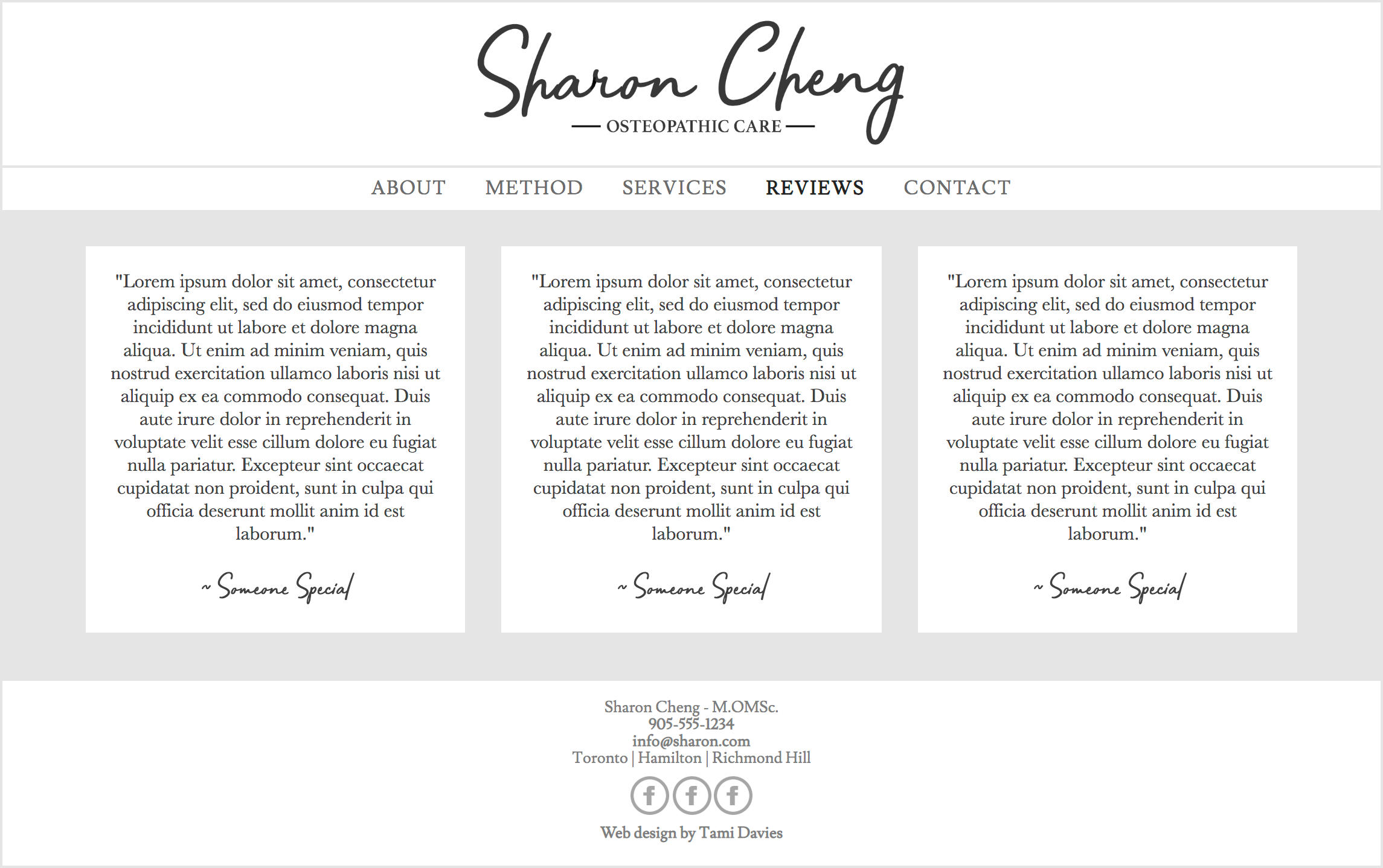 Website reviews page - Desktop (Hand coded)