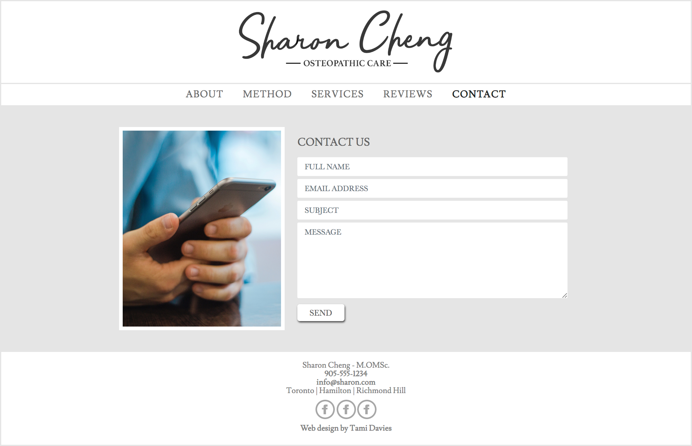 Website contact page - Desktop (Hand coded)