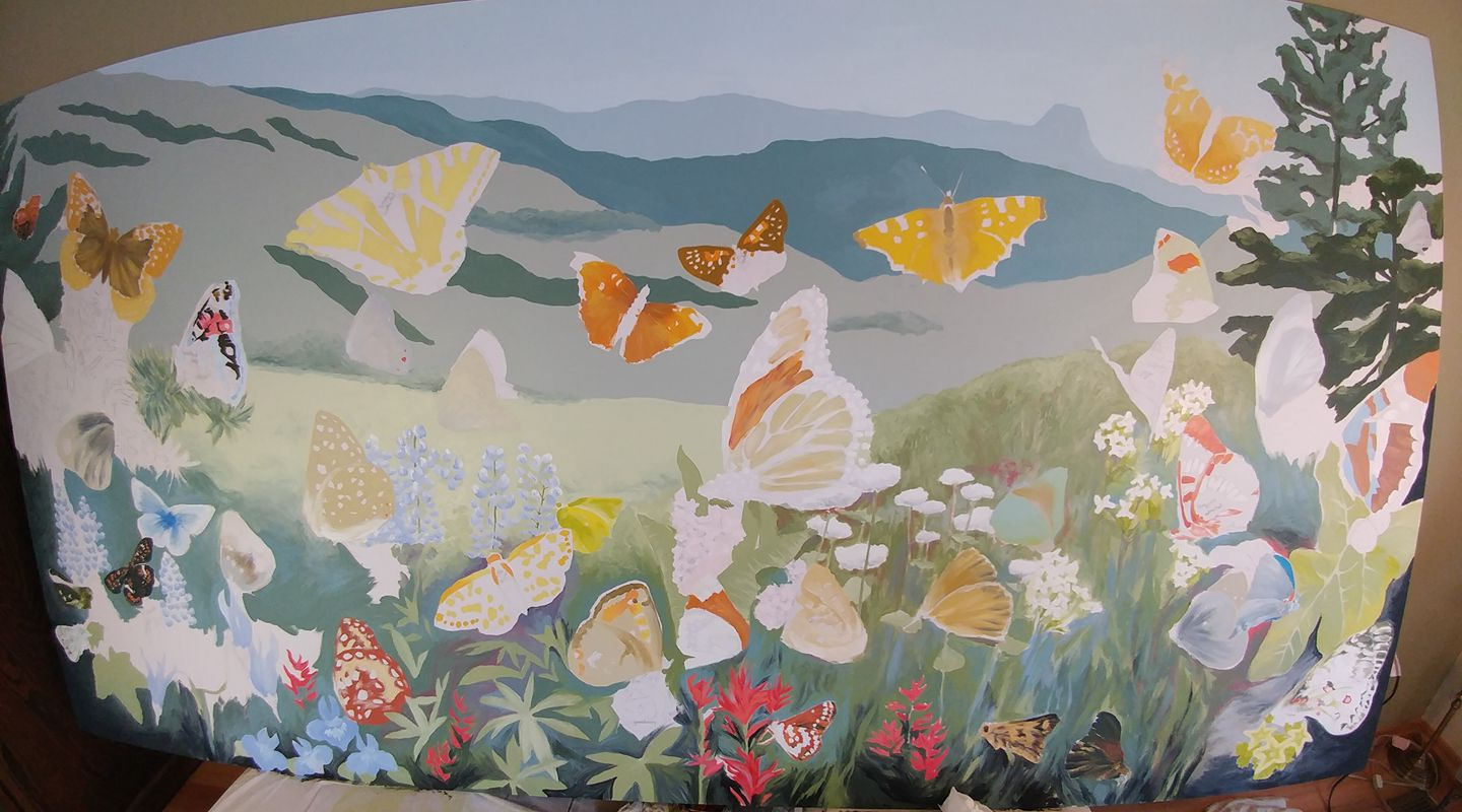 VanPoolen spent over 3 months of full-time work to create the painting. In the first stages of painting, she begins to color individual species.