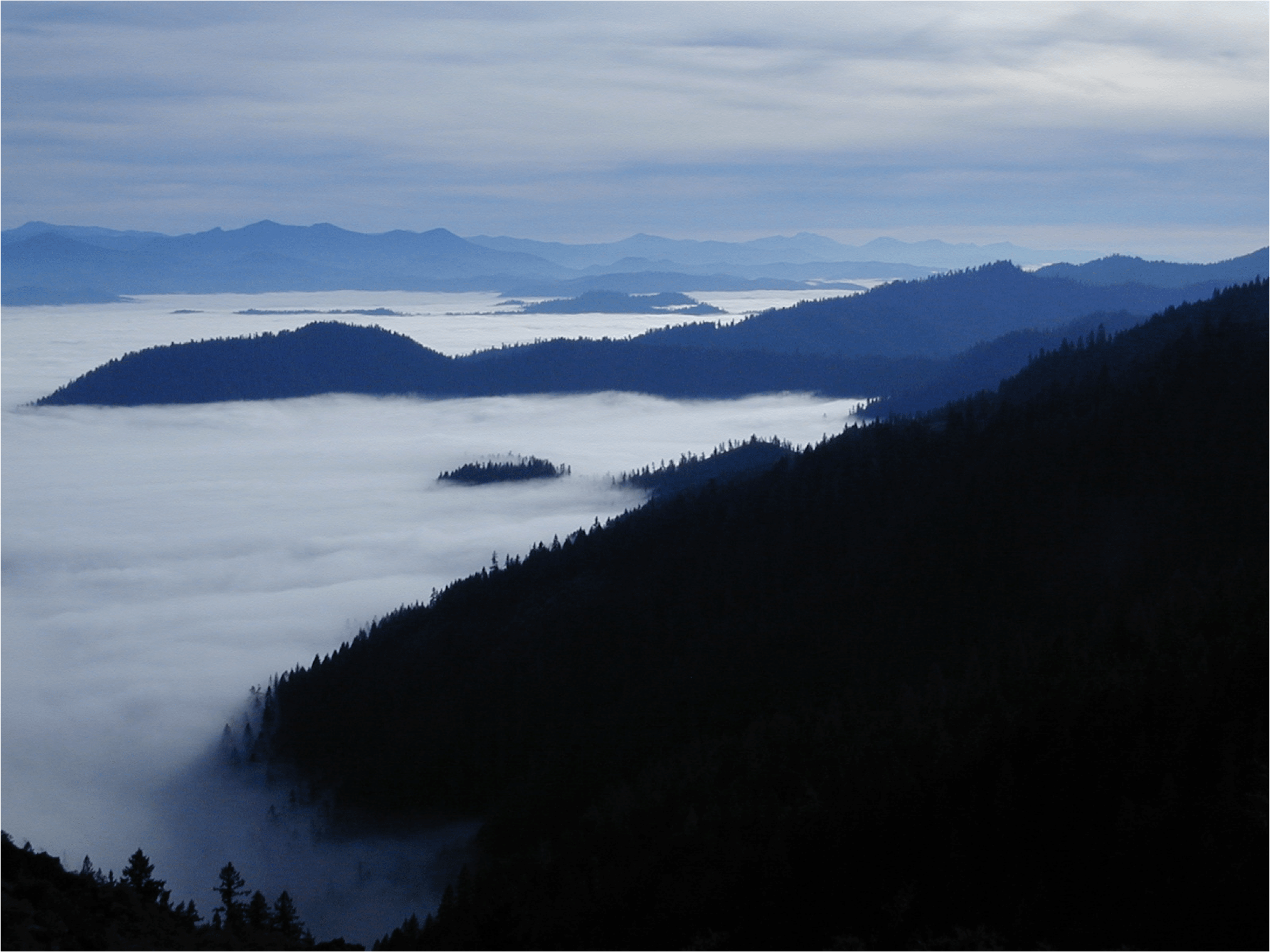 clouds in valley