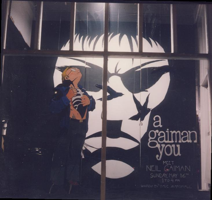 """A Gaiman You. Photo by Dennis McGovern. Art by David Marshall. Sandman is (C) DC Comics. Done for the """"A Game of You"""" tour."""