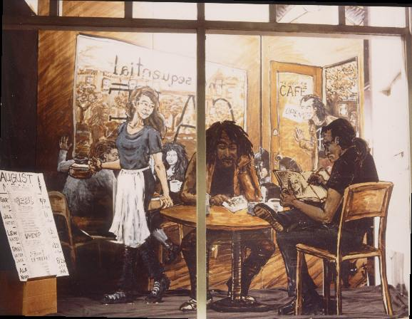 August Cafe. Photo by Dennis McGovern. Art by Chris Hsiang. All characters (c) their respective owners. Done for a series of August signings: Jill Thompson, Lewis Shiner, Alan Grant, Garth Ennis, Dave McKean.
