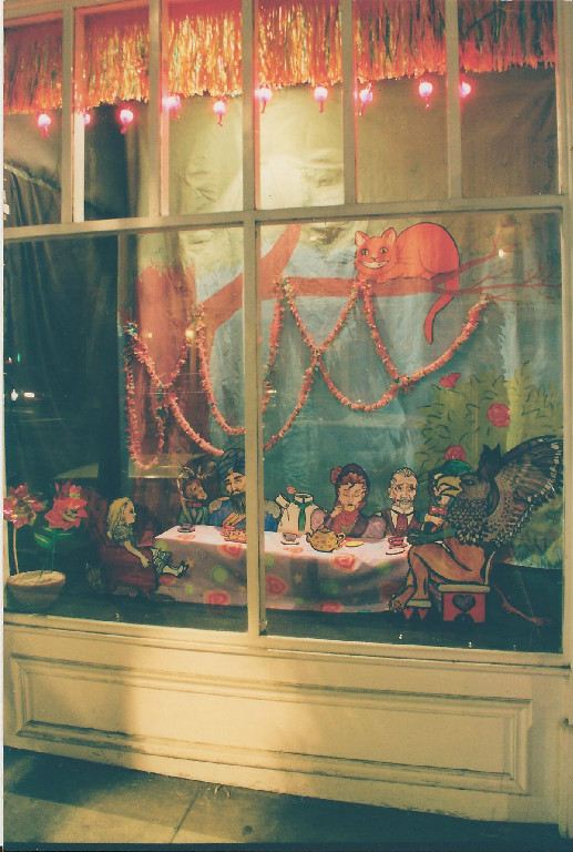 Alice & the LOEG. Window by Susan Riddle. The LOEG is (c) Alan Moore & Kevin O'Neill. Done on pure whimsy.