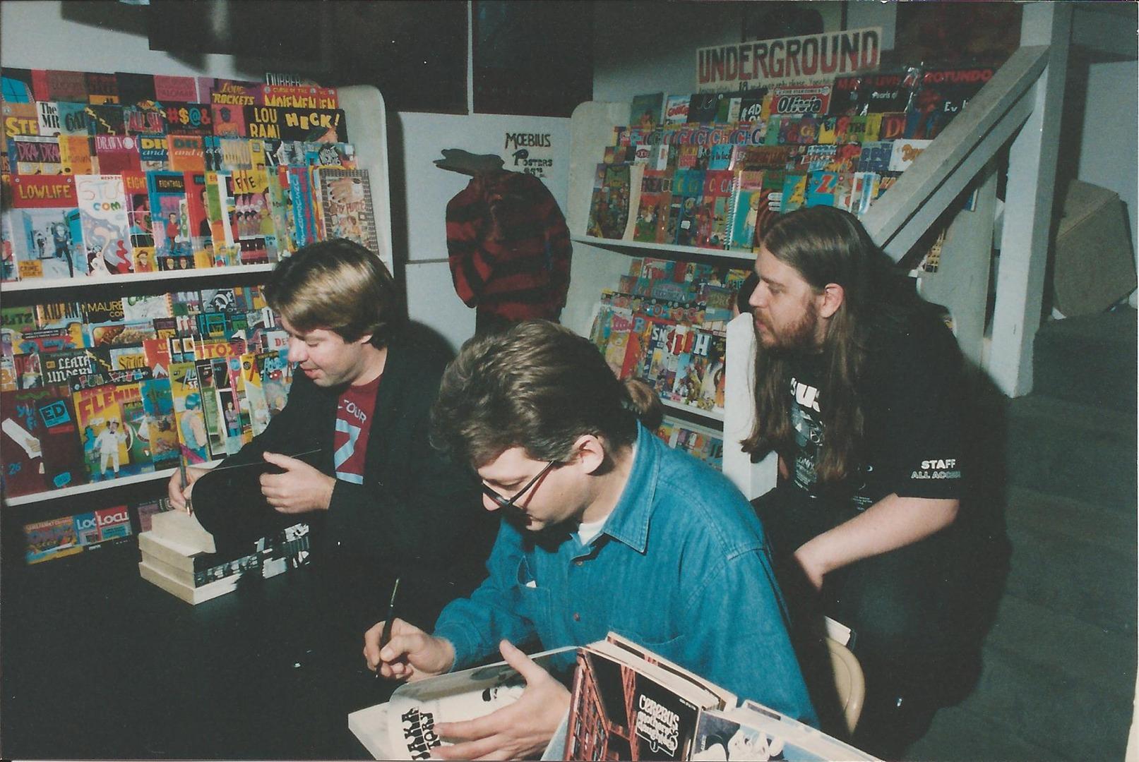 Dave Sim (l), Gerhard (c), Brian Hibbs (r)