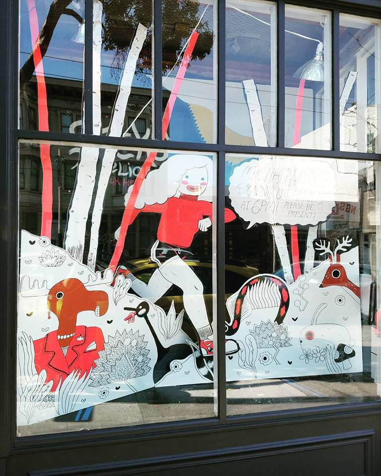 Sticks Angelica. Window by Emma Munger and Julie Fiveash. (c) Michael DeForge. Done for a signing with Michael DeForge.