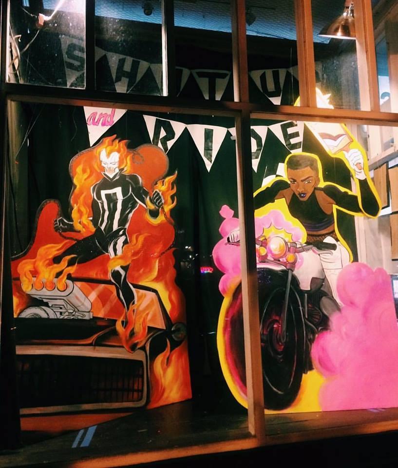 Shut Up and Ride. Window by Emma Munger. Ghost Rider (c) Marvel. Motor Crush (c) Brenden Fletcher, Cameron Stewart, Babs Tarr.
