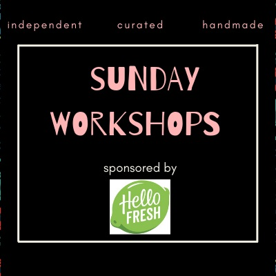 Sunday - 12:00 - Soap Making with Green Iguana Bath1:30 - Beginning Embroidery Workshop with Urban Pigtails3:00 - Intro to Chalk Lettering with Native Mama Studio$10.00 per workshop. All supplies are included. All workshops will last 1 hour and seats are limited.