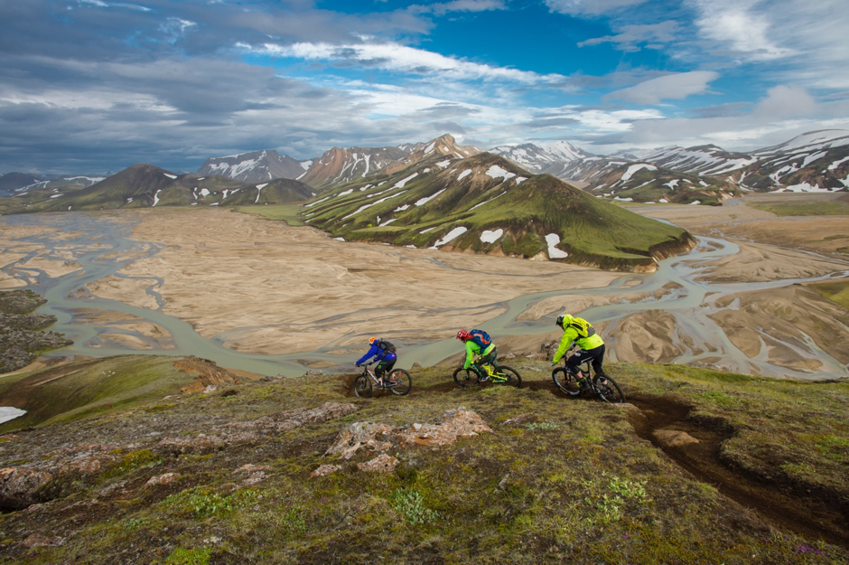 """Mountain biking with legends Hans """"No Way"""" Rey and Steve Peat across Iceland."""