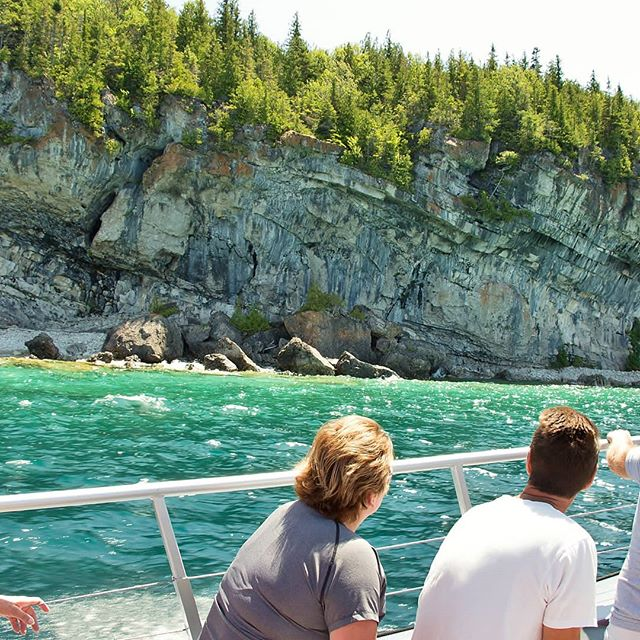 This is one of many views from our boat we love to share!  #Tobermory #parkscanada #boat #cruises #water #rock #love #today #georgianbay  #summer #vacation #road trip #toronto #Canada #Ontario #travel #explorethebruce #thingstodo #camping #group #fun #nature #earth #photography #landscape