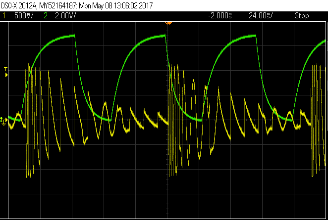 Green shows the input control voltage (CV) and yellow shows the output audio waveform being modified by the CV.