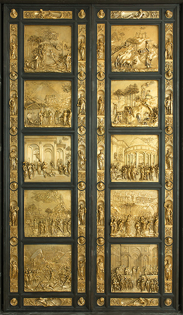 The Gates of Paradise , 1425-1452; cast 1990. Gilded bronze, with iron. After Lorenzo Ghiberti (Italian, [Florentine] 1378-1455). Frilli Gallery, foundry. Italy (Florence), 1860-present.
