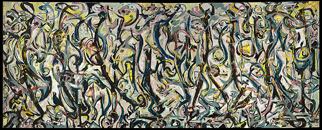 Jackson Pollock,  Mural , 1943. Oil and casein on canvas, 95 5/8 x 237 3/4 inches. Gift of Peggy Guggenheim, 1959.6. University of Iowa Museum of Art, Iowa City. Reproduced with permission from The University of Iowa Museum of Art. Photograph courtesy the J. Paul Getty Museum, Los Angeles, 2014.