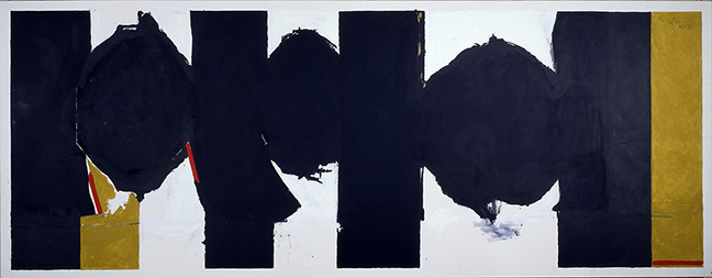 Robert Motherwell,  Elegy to the Spanish Republic, No. 126 , 1965-75. Acrylic on canvas, 77 3/4 x 200 1/4 inches. Purchased with the aid of funds from The National Endowment for the Arts with matching funds and partial gift of Robert Motherwell. University of Iowa Museum of Art, Iowa City. © Dedalus Foundation, Inc./ Licensed by VAGA, New York, NY.