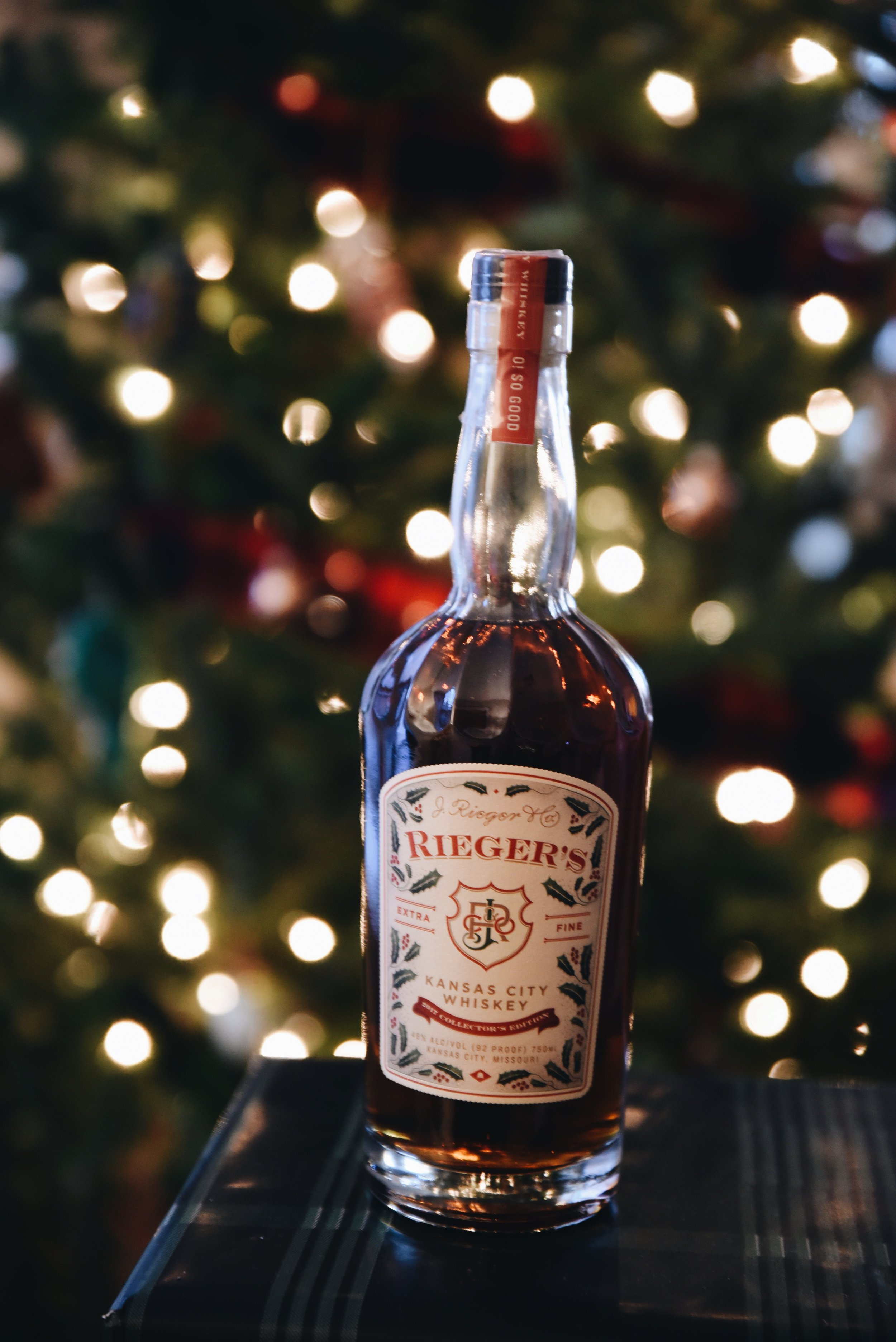 Rieger holiday-label whiskey.