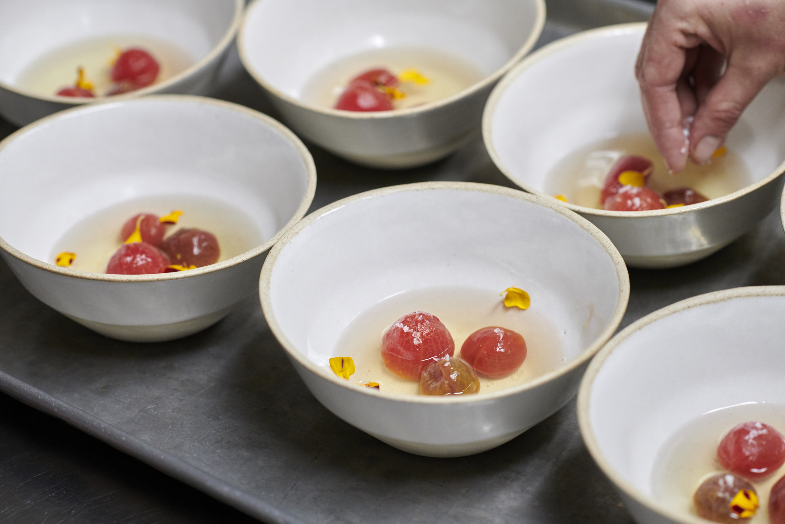 Tomato and Melon Gazpacho with dried heirloom tomato at Café Sebastienne. Photo by Kenny Johnson