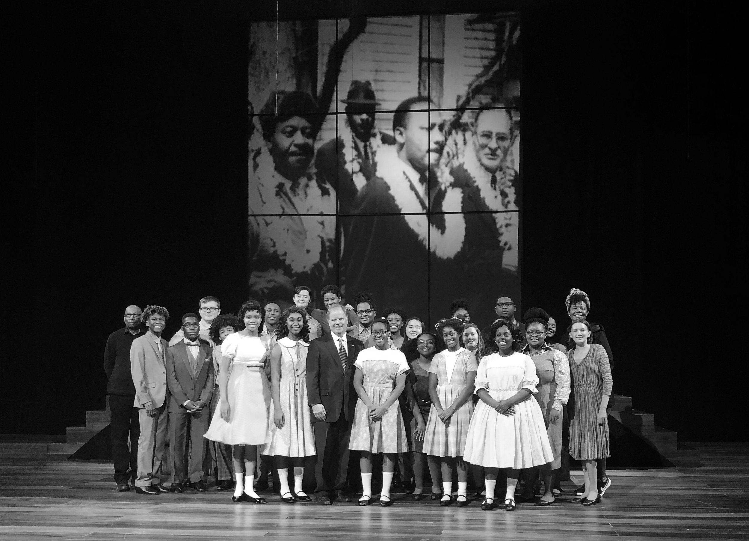 Four Little Girls  cast pictured with Sen. Doug Jones of Alabama. Jones prosecuted the KKK members convicted for the 16th Street Baptist Church bombing.