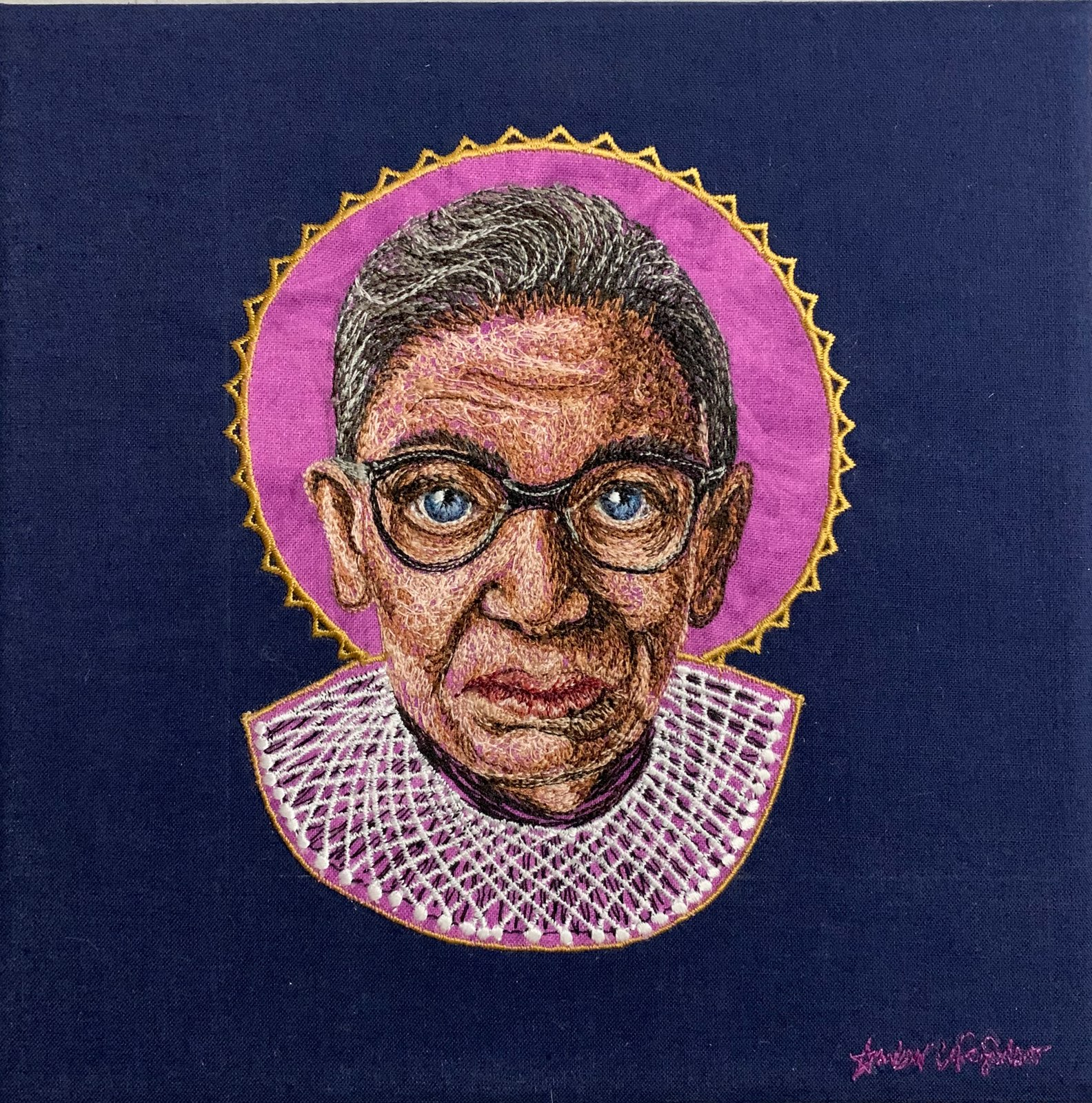 RBG, 8x8 inches, thread and fabric