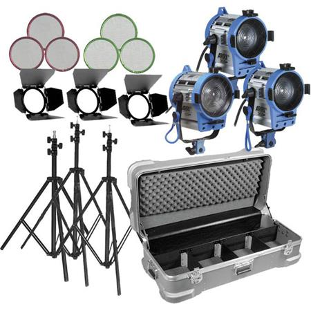 ARRI Fresnel Kit with (3) 650W Fresnel Tungsten Lights, Bulbs, Accessories