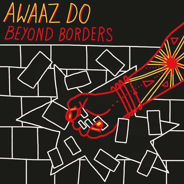 """My band @awaaz_do just birthed our new album, """"Beyond Borders."""" Link in bio. Artwork by the wonderful @dayanitaramesh. Thanks to my fellow Awaazis - true friends and comrades - who made this happen after three long years of work writing, workshopping, playing, recording and mixing these heavy ass tunes. To make instrumental music from scratch is truly a labor of love. I hope they become a soundtrack of resistance. With love, Shredder Auntie"""