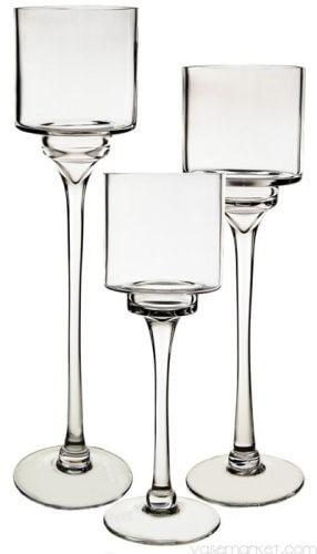 Trio of Stemmed Vases