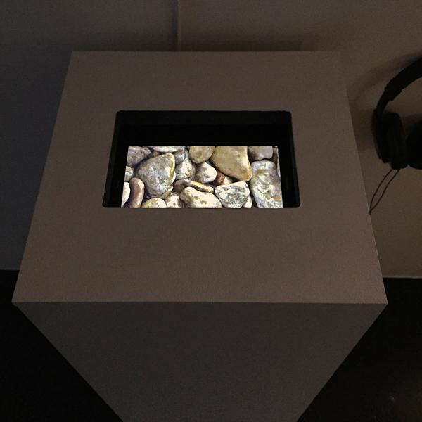 """Installation view, Shallow Deep video, pedestal 36"""" x 15"""" x 15"""""""