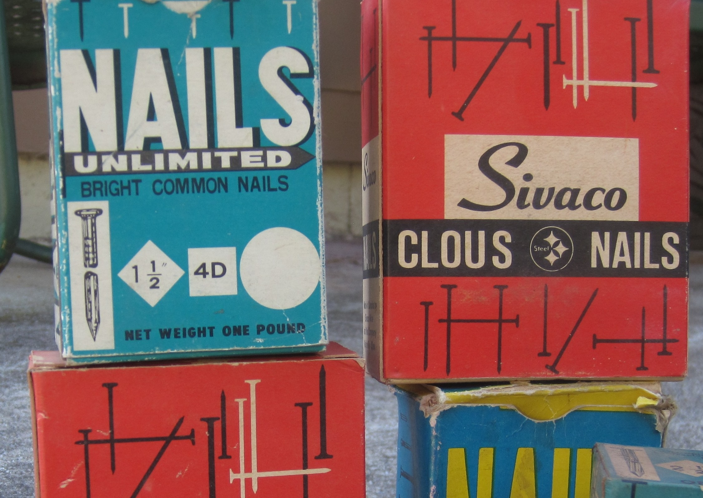 50's vintage nail boxes