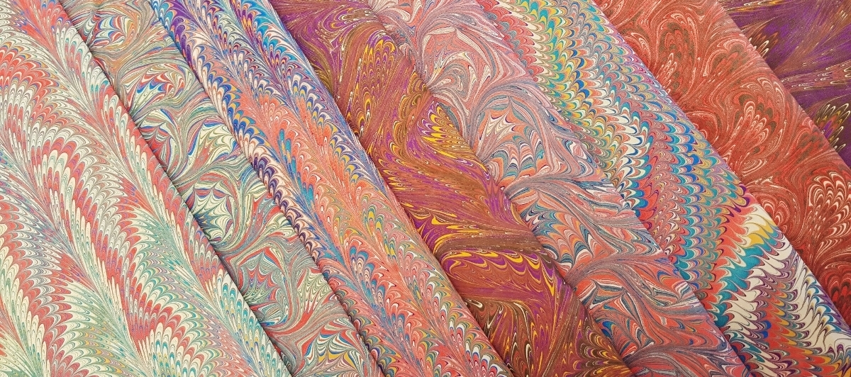 A selection of my hand-marbled 100% cotton yardage, ready for lampshade fabrication. This is a premium, tightly woven cotton, perfect for crisp patterns.