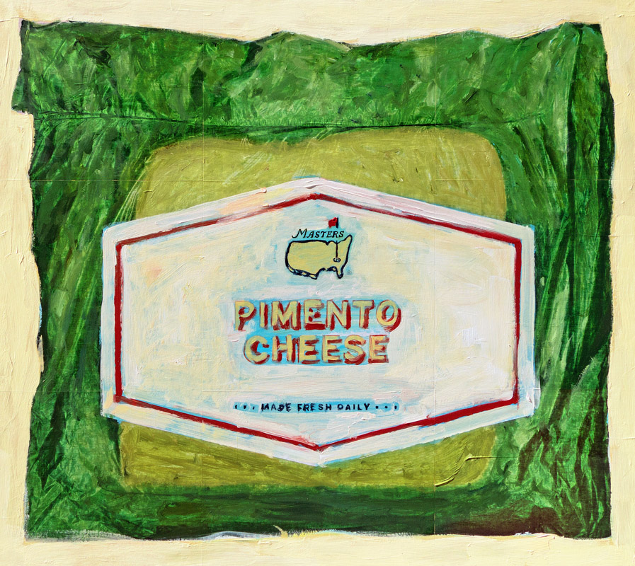 Pimento Cheese mixed media on panel 33 x 37 inches