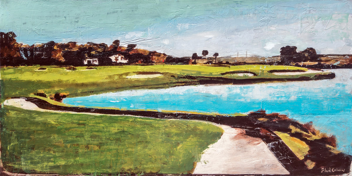 Retreat Sea Island Golf Club mixed media on panel 18 x 36 inches   SOLD / COMMISSION