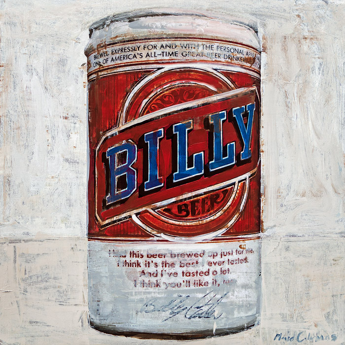 Billy Beer mixed media on panel 19 x 19 inches   SOLD / COMMISSION