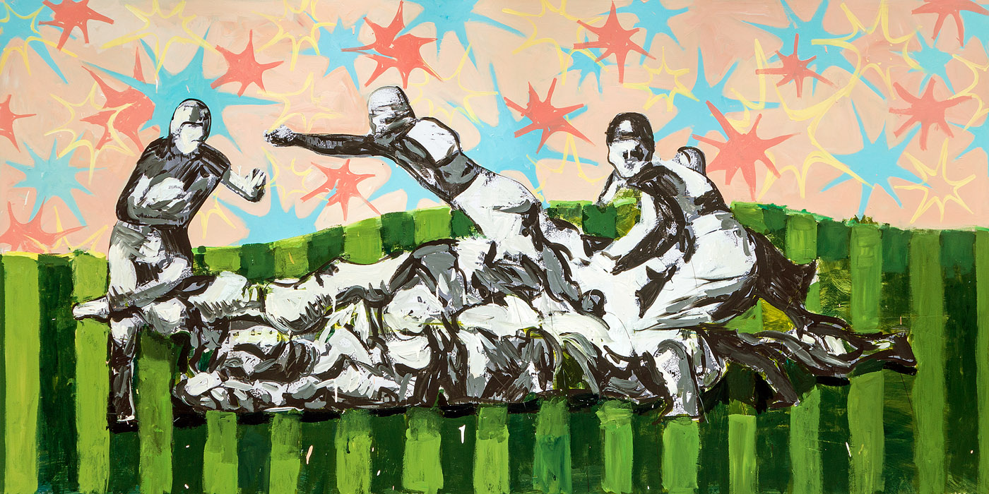 Fooball mixed media on panel 48 x 96 inches