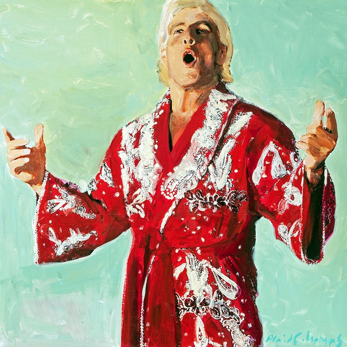Ric Flair mixed media on panel 18 x 18 inches   SOLD / COMMISSION