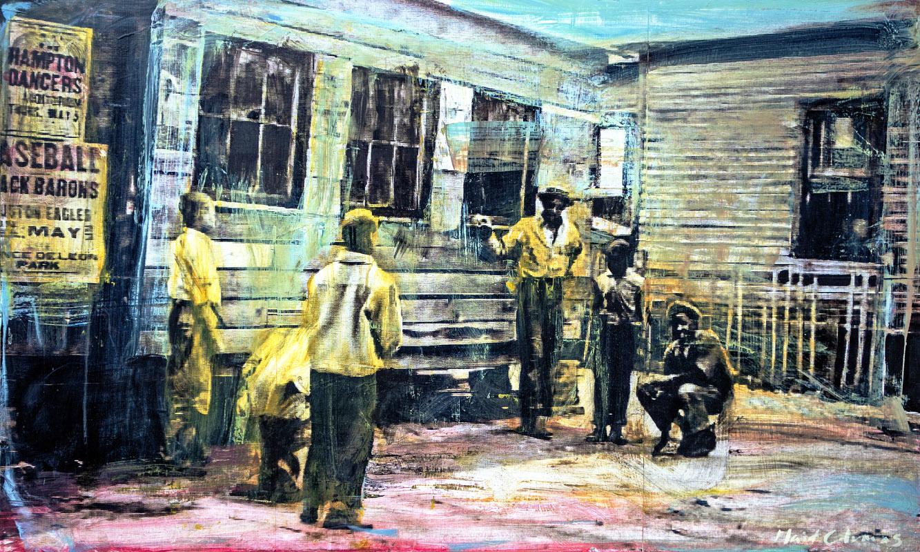 Vintage Summerhill Atlanta, GA mixed media on panel 24 x 40 inches