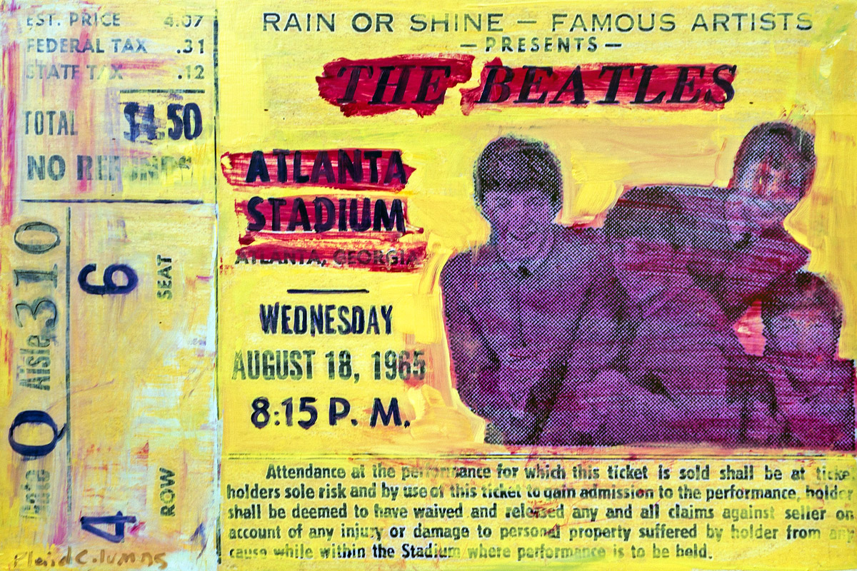 The Beatles Atlanta Stadium, 1965 mixed media on panel 18 x 27 inches