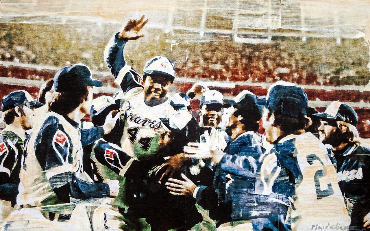 Hank Aaron 715 Atlanta-Fulton County Stadium, 1974 mixed media on panel 25 x 40 inches