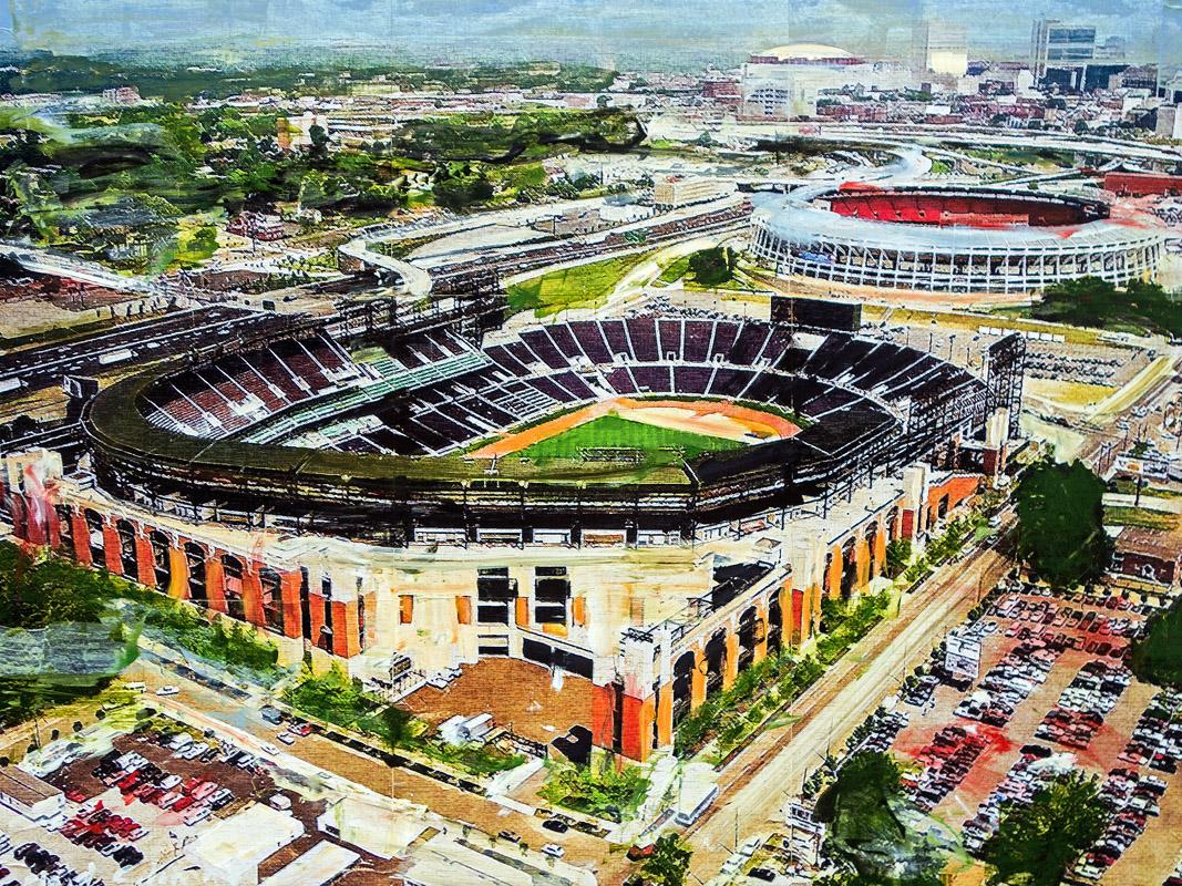 Centennial Olympic Stadium 1996 Summer Olympics Atlanta, GA mixed media on panel 30 x 40 inches
