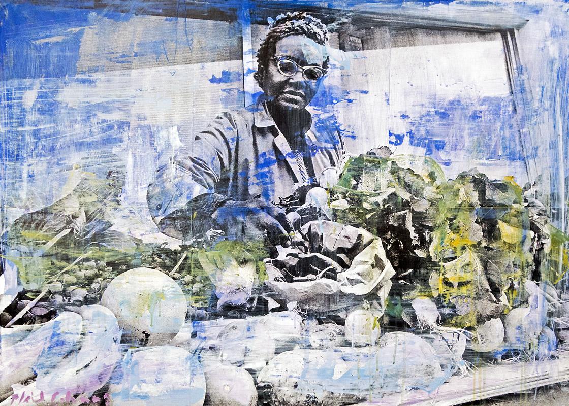 Summerhill Farmer's Market Atlanta, GA mixed media on panel 25 x 35 inches