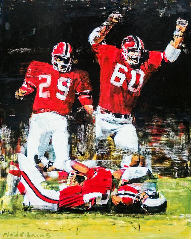 Falcons Atlanta-Fulton County Stadium mixed media on panel 30 x 24 inches