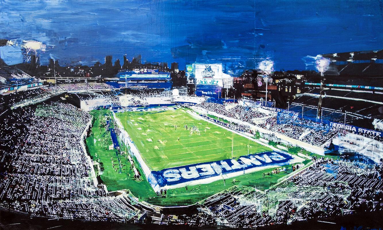 Georgia State Stadium Atlanta, GA mixed media on panel 24 x 40 inches
