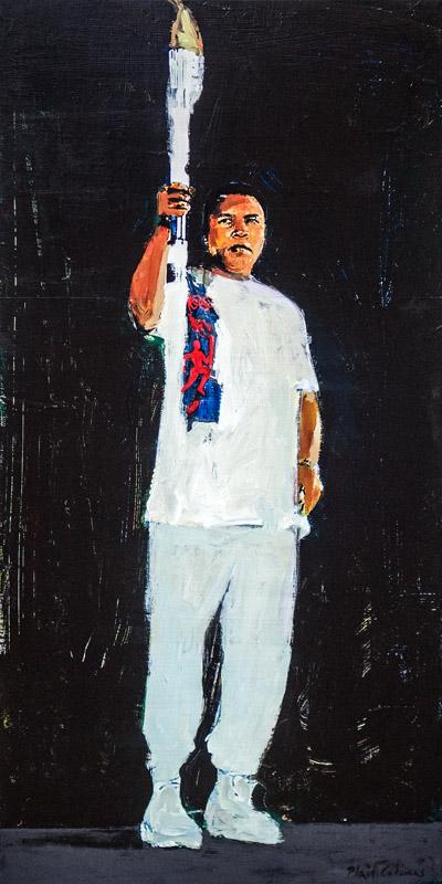 Muhammad Ali 1996 Summer Olympics Atlanta, GA mixed media on panel 36 x 18 inches