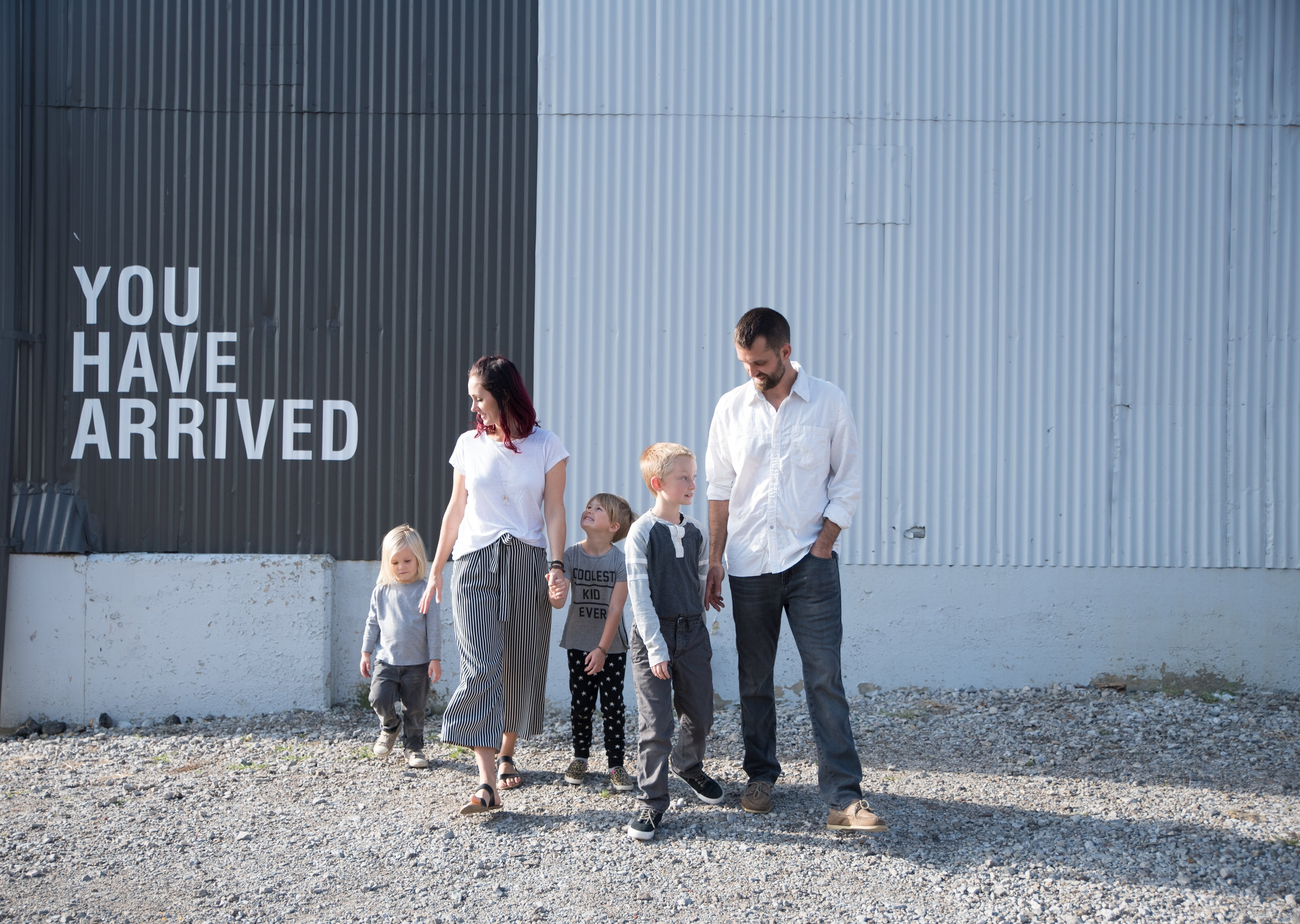 This rad family looked cool, calm and collected rocking a couple of different patterns and even throwing a graphic tee in there. They kept their colors limited to white, black and various shades of gray which gave them wiggle room for those little extras that made a the look cool and styled.