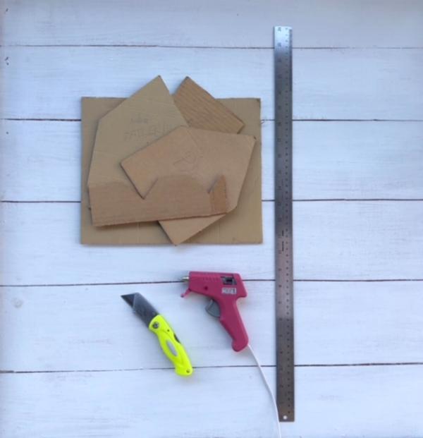 Supplies: Cardboard Template Pieces + Craft Knife + Glue Gun/glue stick +Ruler