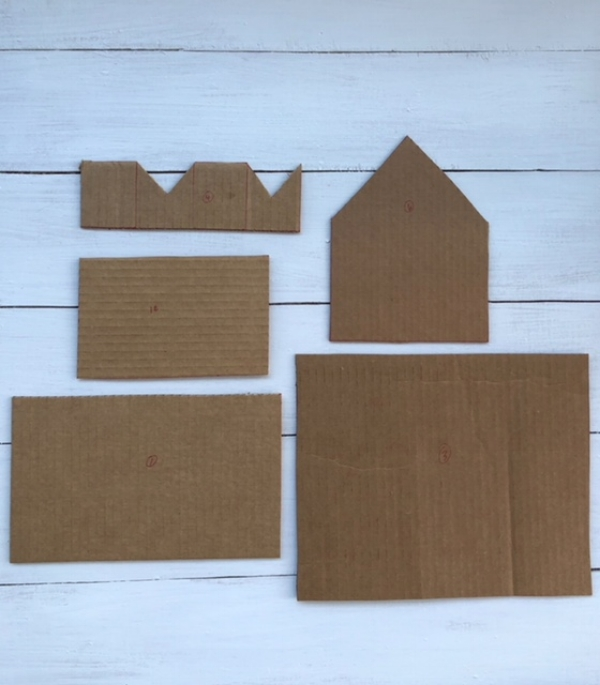 Template pieces for gingerbread house.