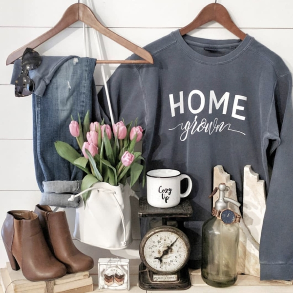 """Brianna, @diyinspiredhouse, is one of my spring brand reps and styled our """"Cozy Up"""" mug as well as our """"Home Grown"""" sweatshirt then shared this view on her Instagram account where she talked about my products."""
