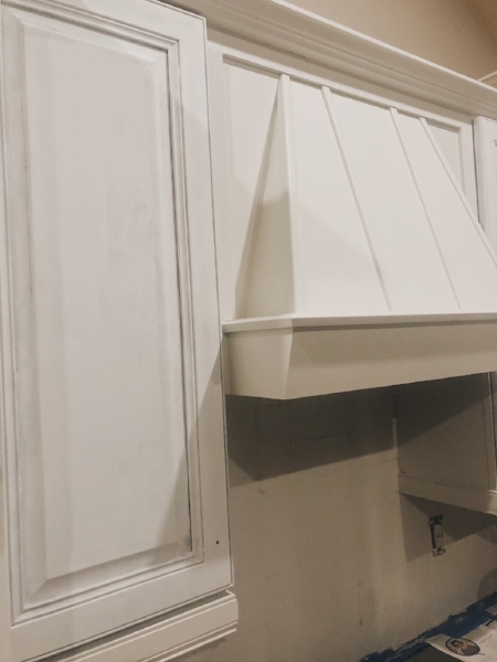 Left cabinet primed and oven hood painted with 2 coats of  Shiplap .