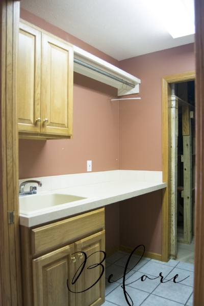 Before of her laundry room makeover
