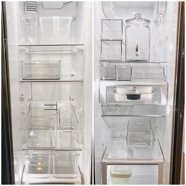 Fridge and freezer with organizing pieces in place