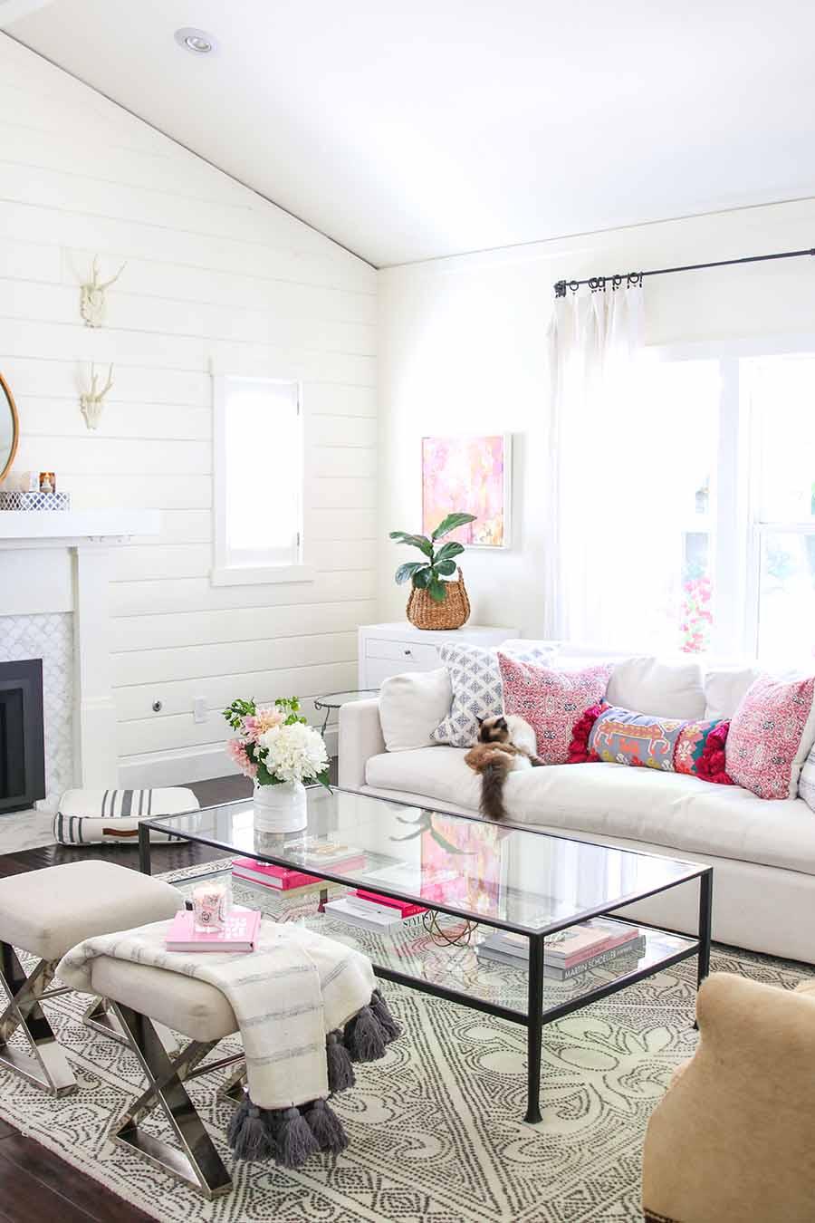 Modern Glam summer living room