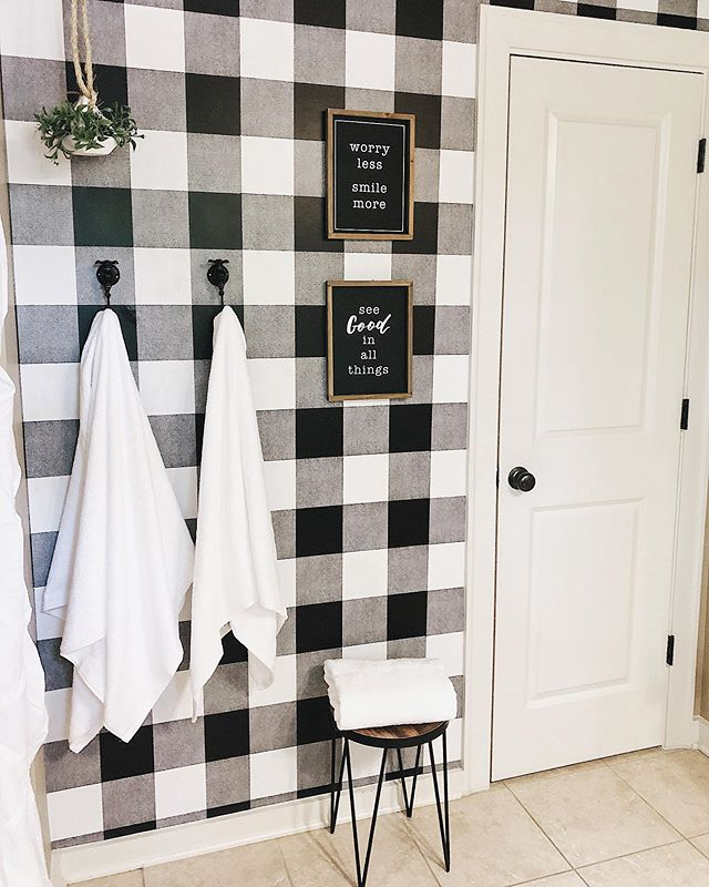 Happy Saturday evening friends😆!! Adding this accent wall to my daughters bathroom was a budget friendly update to their darker walls that they've enjoyed🙌🏻! My sweet MIL was the awesome lady behind making the actual hanging part of it happen, she worked her magic lining up the checks! I'll share link for the wallpaper we used (has sticky on the back already🙌🏻) in my stories!  Plus, I shared a few weeks back about how to add farmhouse style to your bathroom👏🏻😍! You can tap link in my profile or head to www.shegaveitago.com to read all about how easy it can be!  I hope you had a wonderful Saturday! Have a beautiful night friends💗!! #handmadewithjoann  #bathroomdecor #bathroomdesign #bathroomdecor #farmhousebathroom #rusticdecor #rustichomedecor #rustichome #farmhousedesign #farmhousedecor #farmhousestyle #doityourself #diy #diyhomedecor #homeimprovements #fixerupper #modernfarmhouse #homedesignideas #bathroomdetails #simpledesign #homesweethome #cottagestyle #wallpaper #instahome #instagood #seasonaldecor #bhghome #countryliving