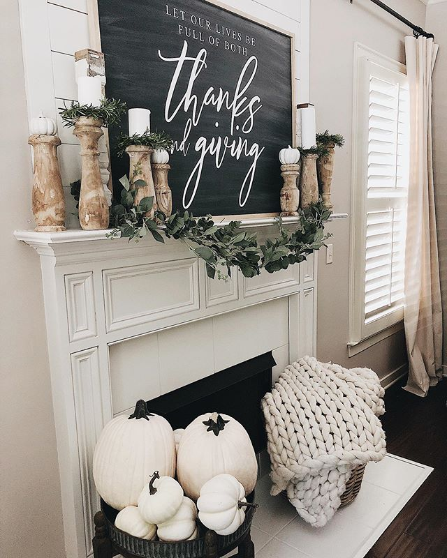 Happy Thursday friends😆! Today's goal was to create and work on really getting some progress made with our fall decor🍁🧡. As a blogger and collaborator that works with companies, decorating comes earlier than most. I know for many of you (like me too) it is still in the 90s and almost 100s haha and fall still seems far away; so you can see these upcoming early fall decor posts as just a time for you to start imagining your own and planning for when you're ready to decorate 👏🏻🧡. I'll have to say, though, it's been so much fun pulling out things from last year and finding homes for the new!  I worked on our mantel and fireplace area today and sharing its progress with you tonight! It has some elements as last years, but the @ohsweetskye sign is new (linked it in my stories today)! I'm most like going to add some color to this neutral set up, what do you think🍁🍁🍁? If you've been wanting to add a shiplap wall above your fireplace, I share on the blog a step by step guide on how to do it! Everything from the supplies list and details on each step.  Just tap link in my profile to go check it out or head to my stories.  Wishing you all a wonderful night friends🧡☺️! #instahome #smallshop #shopsmall #diy #livingroomdecor #livingroom #farmhousestyle #farmhousedecor #homesweethome #interiordesign #cottagestyle #whitedecor #interior123 #interiors #modernfarmhouse #vintage #shabbychic #rusticdecor  #fall #falldecor #instahome #instagood #pillows #homedecor #cozy #cozyhome #bhghome #fixerupper